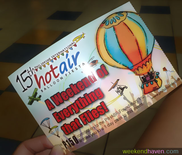 ticket at the 15th Philippine International Hot Air Balloon Fiesta