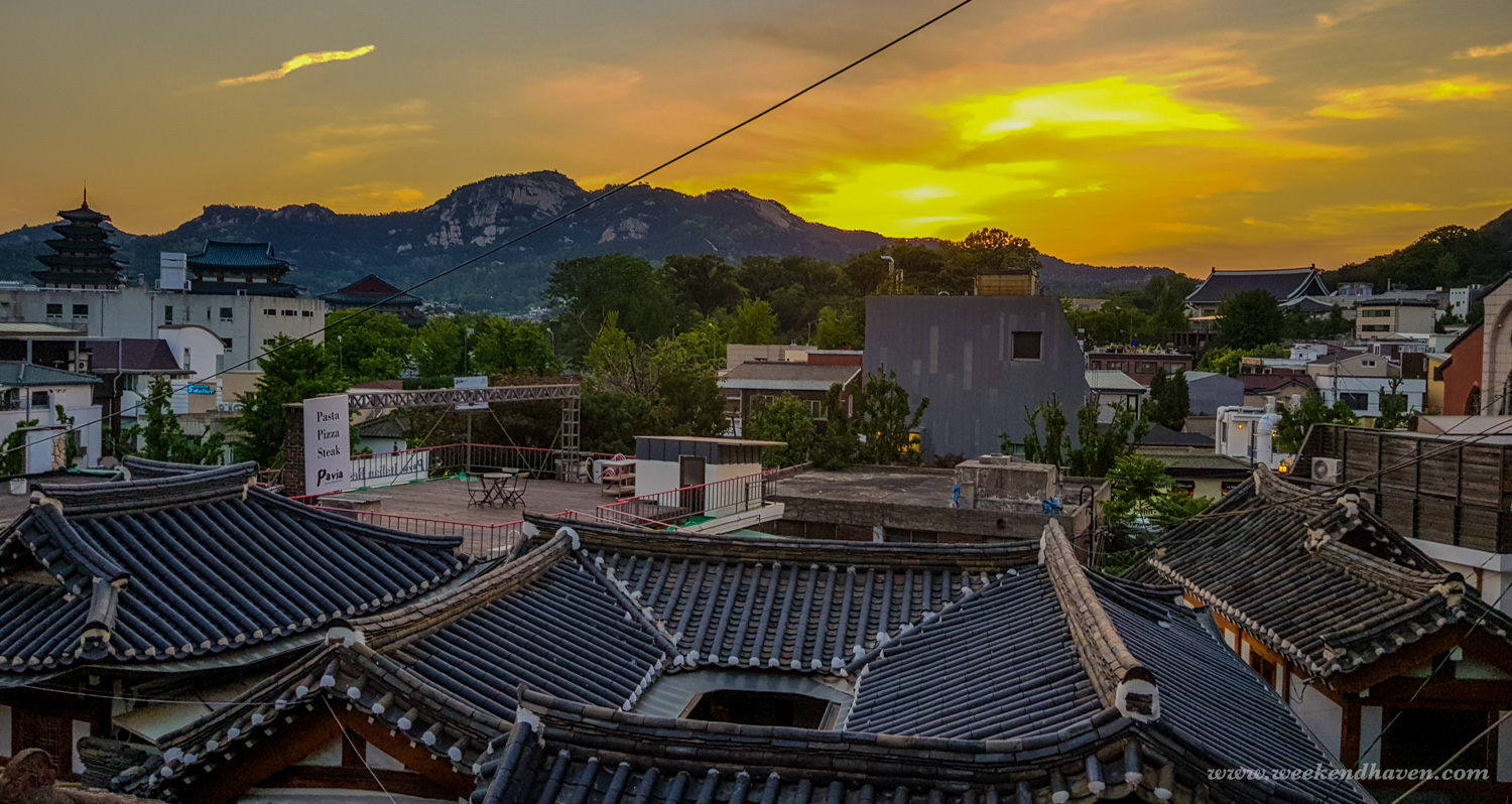 Sunset at Bukchon Hanok Village