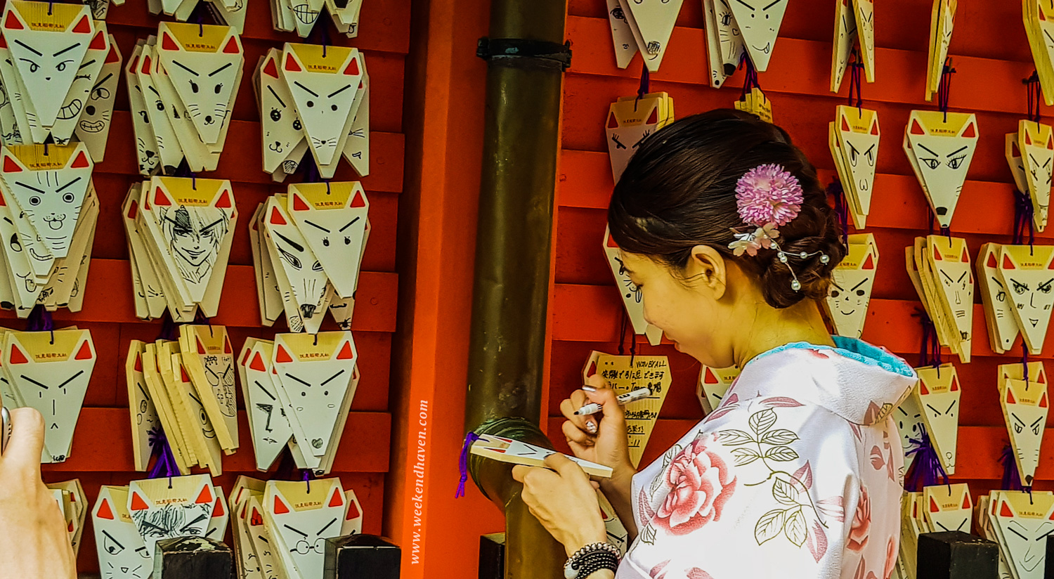 Lady in Kimono writing to the Gods of Fushimi Inari